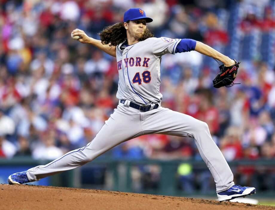 New York Mets starting pitcher Jacob deGrom throws in the first inning of a baseball game against the Philadelphia Phillies Monday. The Mets edged the Phillies 4-3. Photo: LAURENCE KESTERSON — THE ASSOCIATED PRESS  / FR170723 AP