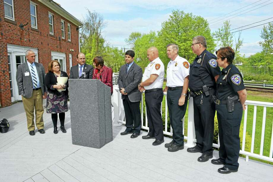 From left, Dr. Jeff Shelton, Navarretta, Allen, DeLauro, Mayor Dan Drew, Fire Chief Robert Kronenberger, Middletown Fire Assistant Chief Jay Woren, Middletown Police Capt. Sean Moriarty and Lt. Heather Desmond took part in the press conference. Photo: Cassandra Day — The Middletown Press