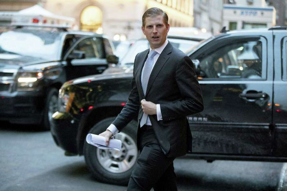 Eric Trump, son of President-elect Donald Trump departs from Trump Tower in New York. Photo: The Associated Press File Photo  / Copyright 2017 The Associated Press. All rights reserved.