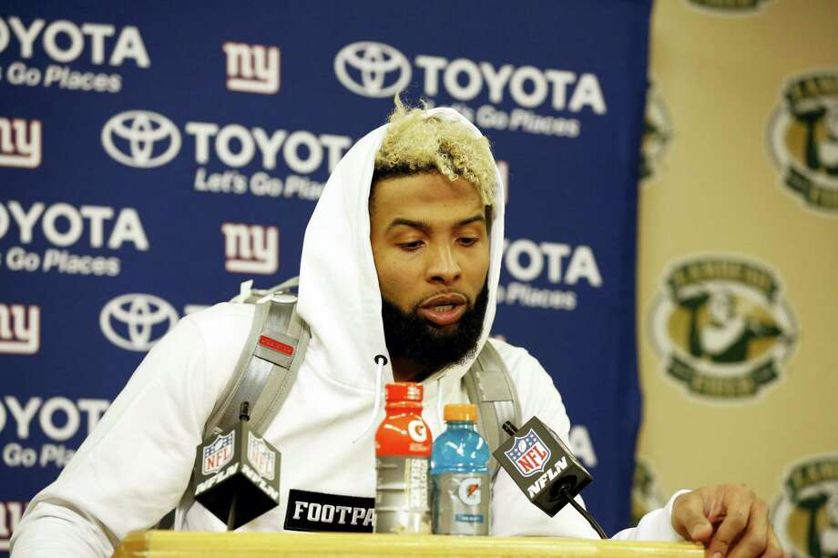 New York Giants wide receiver Odell Beckham speaks at a news conference after Sunday's loss to the Packers. Photo: The Associated Press  / FR155580 AP