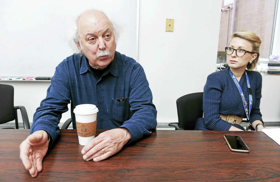 Dr. Robert Ostroff, left, co-medical director, Interventional Psychiatric Services, Yale New Haven Psychiatric Hospital, talks about ketamine infusion therapy and other treatments for chronic depression at the Yale New Haven Psychiatric Hospital.  At right is Dr. Rachel Katz, chief resident of Interventional Psychiatric Services. Photo: Arnold Gold — New Haven Register