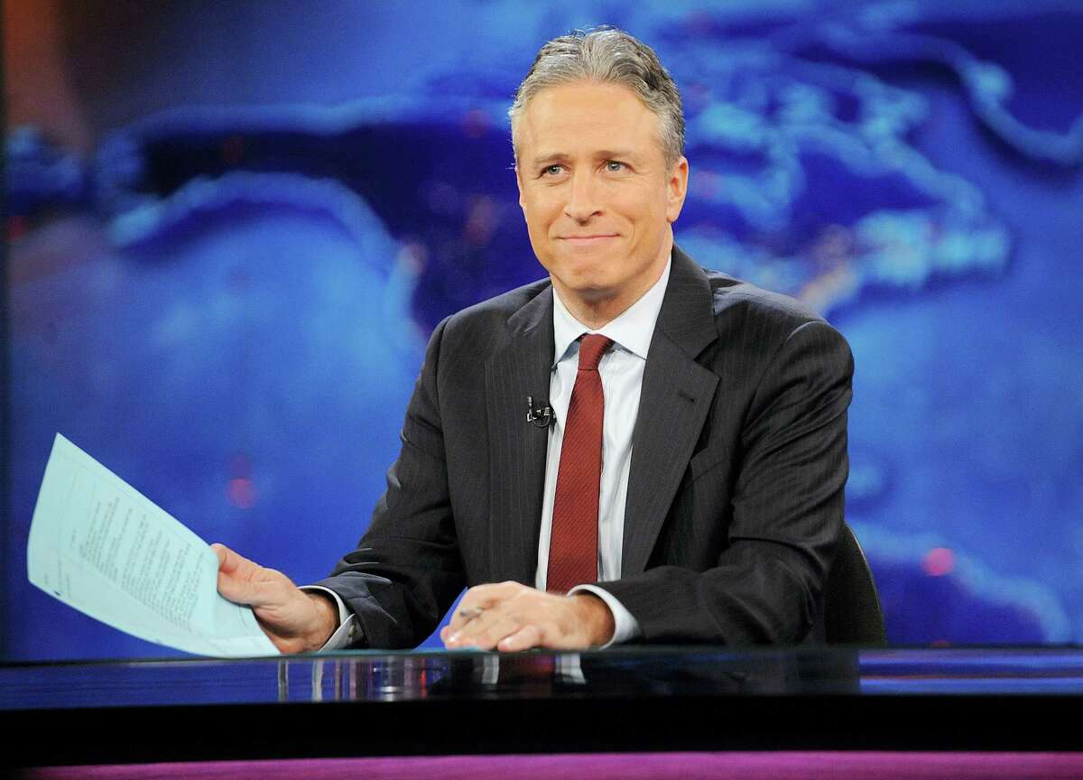 """Jon Stewart during a taping of """"The Daily Show"""" in New York in 2011."""
