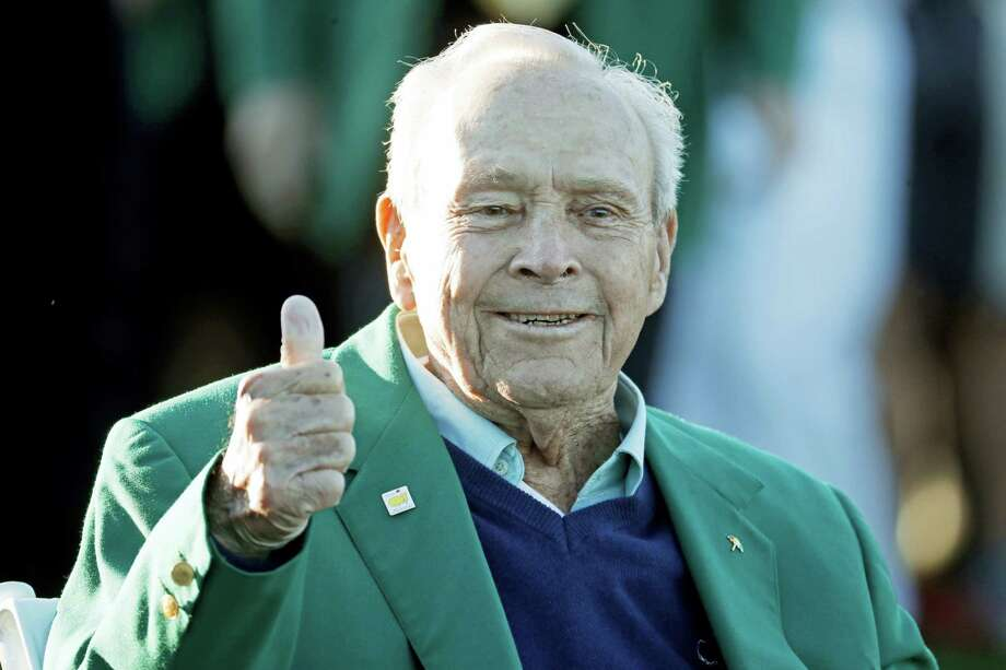 In this file photo, Arnold Palmer gives a thumbs up before the ceremonial first tee before the first round of the Masters golf tournament, in Augusta, Ga. The King turned up one last time at the Masters, in ill health but still flashing that familiar thumbs-up sign. Now, it's time to carry on without Arnold Palmer, whose death left a giant void at Augusta National and golf's first major championship. Photo: Charlie Riedel — The Associated Press File  / Copyright 2017 The Associated Press. All rights reserved.