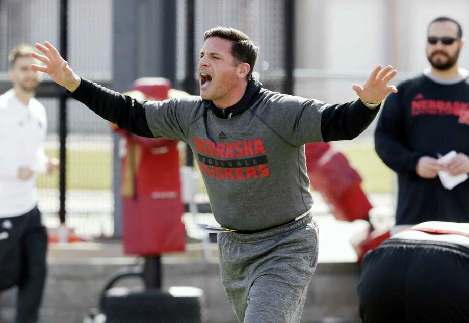 Bob Diaco works with players during spring practice in Lincoln, Neb. Photo: The Associated Press File Photo  / Copyright 2017 The Associated Press. All rights reserved.
