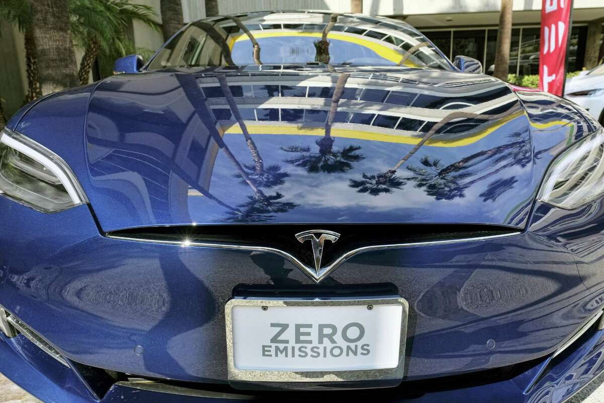 This Monday, Oct. 24, 2016, photo shows a Tesla Model S on display in downtown Los Angeles.