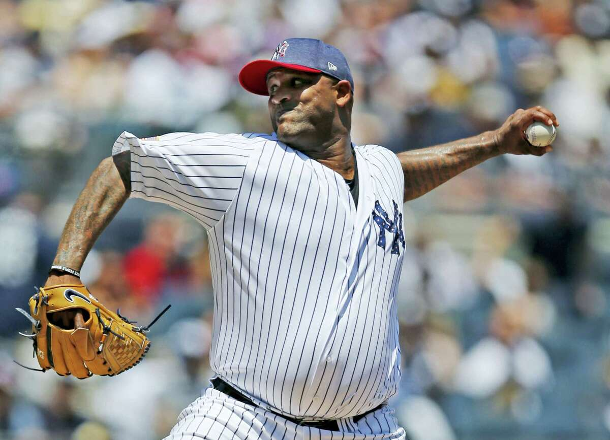 New York Yankees starting pitcher CC Sabathia delivers during the first inning of a baseball game against the Toronto Blue Jays at Yankee Stadium in New York, Tuesday. Sabathia struggled in his return from the diabled list as the Blue Jays beat the Yankees.