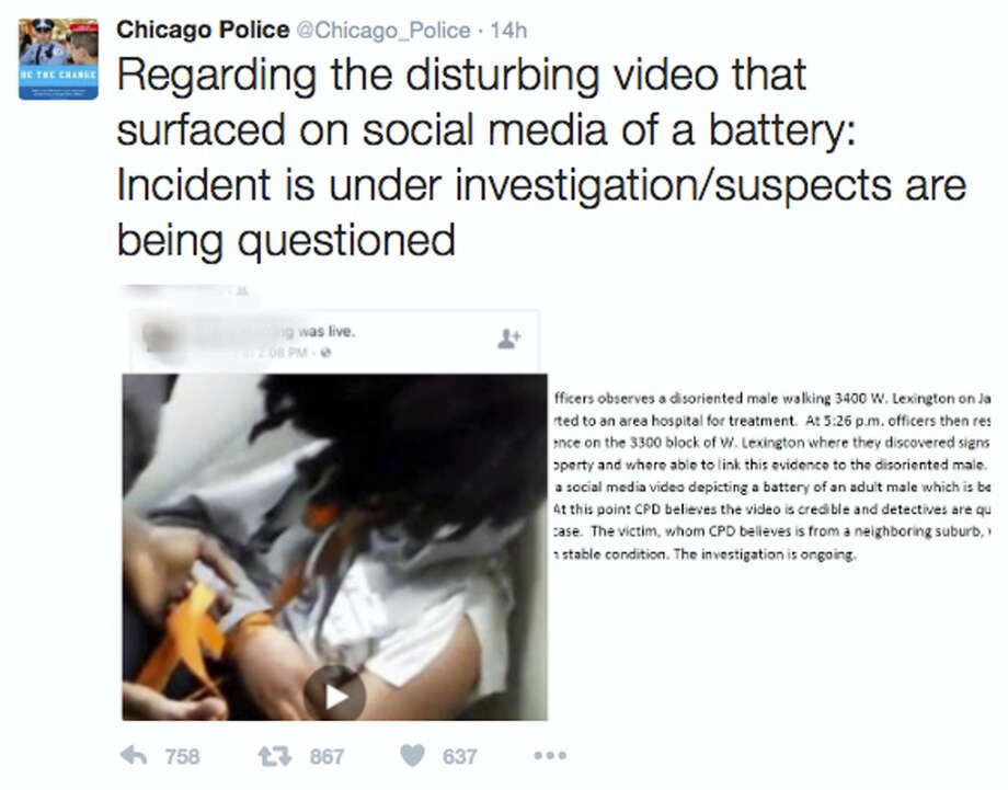 "This image posted on the Chicago Police Department's Twitter page shows a frame from a video that was broadcast live on Facebook in which a man is assaulted. The video shows the man with his mouth taped shut as a woman and other people cut off his shirt and hair with a knife, and someone pushes his head with his or her foot. Chicago Police Superintendent Eddie Johnson said Wednesday that the victim has mental health challenges, and he called the video ""sickening."" Photo: Chicago Police Department Via AP   / Chicago Police Department"