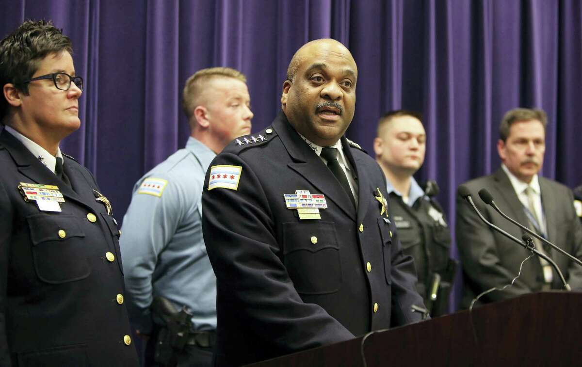 Chicago Police Superintendent Eddie Johnson speaks during a news conference Thursday on the hate crime and other charges filed against four individuals for an attack on a man that was captured on a Facebook video.