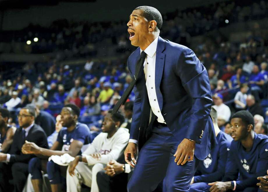 UConn men's basketball coach, Kevin Ollie yells to his players from the sidelines in the first half  against Tulsa. The Huskies play at Memphis Thursday. Photo: JESSIE WARDARSKI — Tulsa World Via THE ASSOCIATED PRESS  / Tulsa World