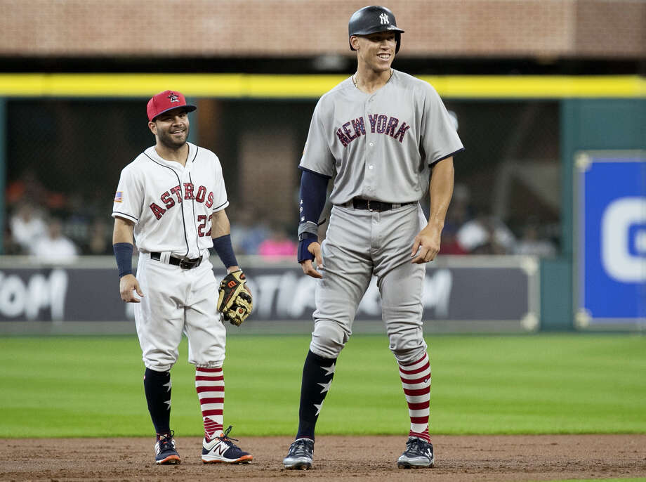 The Yankees' Aaron Judge, right, found out Sunday that he was voted in as a starter for the All-Star game for the first time. Astros second baseman Jose Altuve, left, will be making his third All-Star start. Photo: Yi-Chin Lee — Houston Chronicle Via AP  / ' 2017 Houston Chronicle