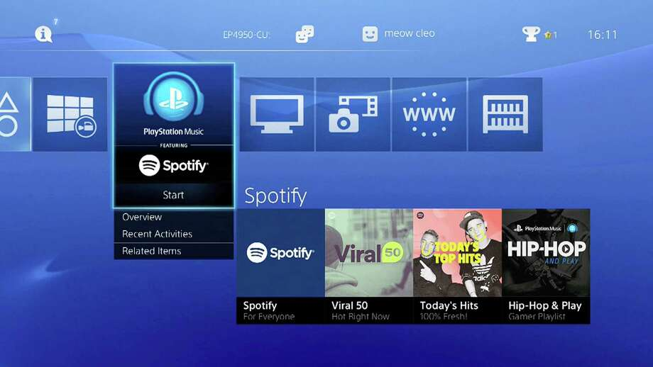This undated image provided by Sony Computer Entertainment America shows a screen grab of tiles of Spotify on Playstation 4. Photo: AP Photo — Sony Computer Entertainment America  / Sony Computer Entertainment America