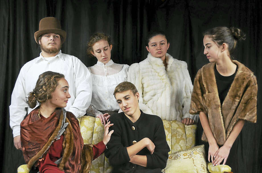 Photo courtesy Laura Attanasio The cast of Flowers for Algernon, bottom row, from left, are Emma Flaherty as Norma; Ezra van Yperen as Charlie; standing, Dan Ayott as Dr. Strauss; Abigail Ingalls as Professor Nemur; Kiara Lopez as Mrs. Mooney; Becca Dollahite as Charlie's Mother. Not pictured are Emma Lindsay as Alice Kinninan; Callie Andrews as Beatrice Seldon; Connor Wilke as Charlie's Father. Photo: Digital First Media
