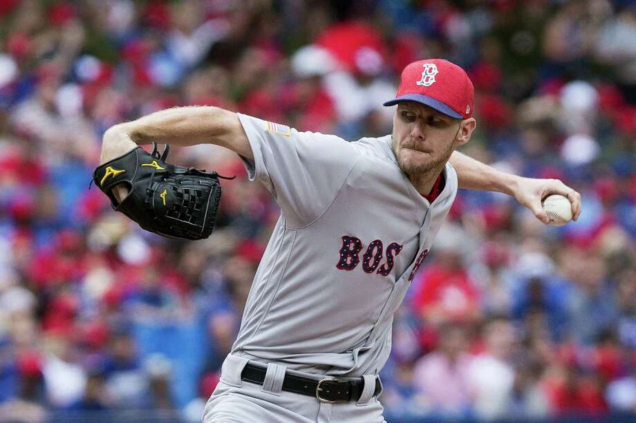 Chris Sale works against the Blue Jays during the fourth inning on Saturday. Photo: Chris Young — The Canadian Press Via AP  / The Canadian Press