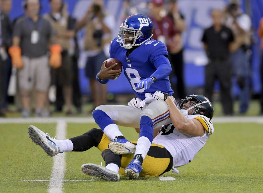 New York Giants quarterback Josh Johnson (8) is sacked by Pittsburgh Steelers linebacker T.J. Watt (90) during the first quarter of a preseason NFL football game, Friday, Aug. 11, 2017, in East Rutherford, N.J. (AP Photo/Bill Kostroun) Photo: Bill Kostroun/Associated Press
