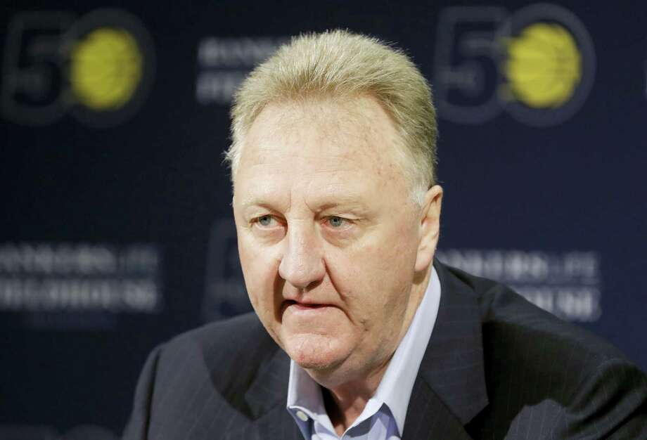 Larry Bird speaks after resigning from his position as Indiana Pacers president of basketball operations during a news conference Monday in Indianapolis. Photo: Darron Cummings — The Associated Press  / Copyright 2017 The Associated Press. All rights reserved.