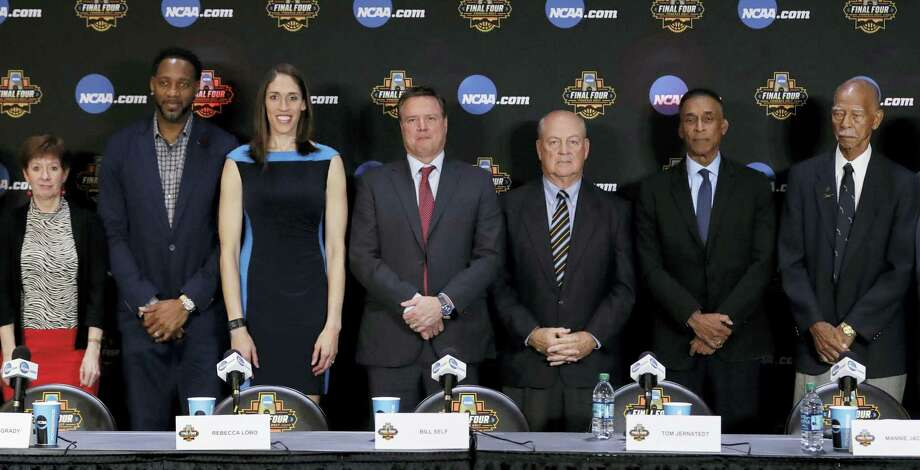 From left, Muffet McGraw, Tracy McGrady, Rebecca Lobo, Bill Self, Tom Jernstedt, Mannie Jackson and Robert Hughes pose for a picture at the Basketball Hall of Fame news conference Saturday in Glendale, Ariz. Photo: David J. Phillip — The Associated Press  / Copyright 2017 The Associated Press. All rights reserved.