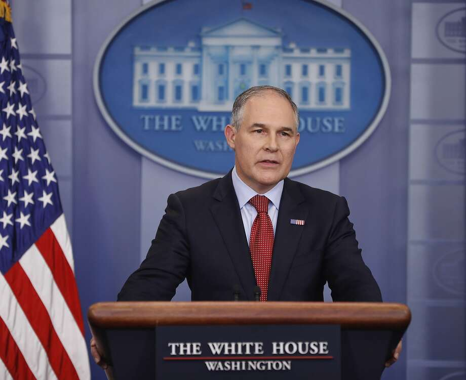 EPA Administrator Scott Pruitt speaks to the media on June 2. California Attorney General Xavier Becerra sued the Environmental Protection Agency on Friday for failing to provide records he contends could show conflicts of interest by Pruitt. Photo: Pablo Martinez Monsivais, Associated Press