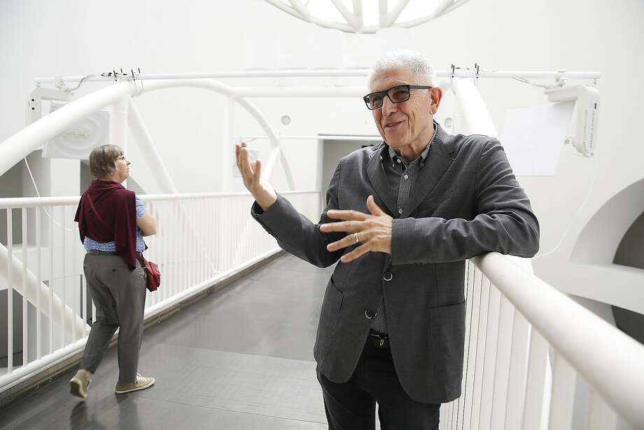 Conceptual artist Bill Fontana talks about the SFMOMA boiler room noises piped to his sound sculpture on the bridge. Photo: Liz Hafalia, The Chronicle