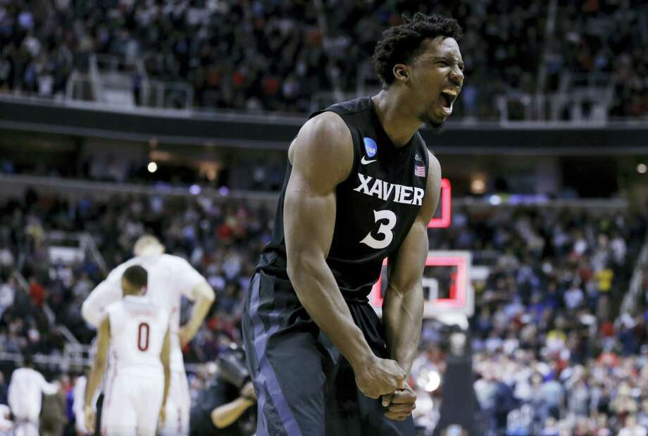 Xavier guard Quentin Goodin celebrates after his team beat Arizona on Thursday. Photo: Ben Margot — The Associated Press  / Copyright 2017 The Associated Press. All rights reserved.