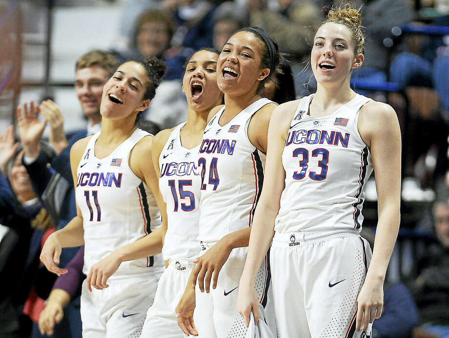 UConn's Napheesa Collier, second from right, and Katie Lou Samuelson, right, are 48 points shy of becoming the single-season highest-scoring tandem in the history of the UConn women's basketball program. Photo: Jessica Hill — The Associated Press  / AP2017