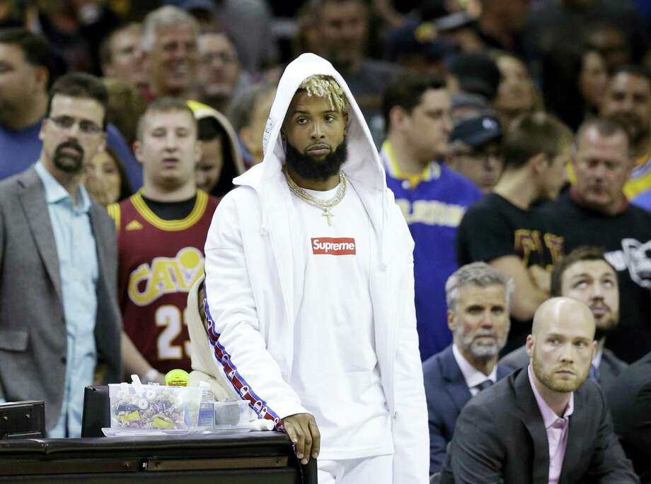 Giants wide receiver Odell Beckham, Jr. watches the Cavaliers and Warriors in the first half of Game 4 of the NBA Finals in Cleveland on Friday. Photo: The Associated Press File Photo  / Copyright 2017 The Associated Press. All rights reserved.