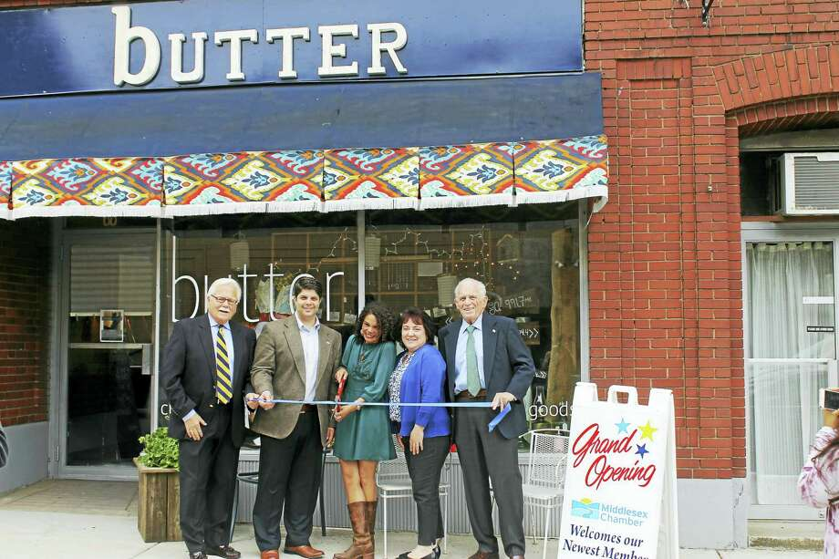 A grand opening celebration for Butter curated exchanged goods was held May 30 at its 68 Washington St. location in Middletown. From are Middletown Small Business Development Counselor Paul Dodge, Middletown Mayor Dan Drew, Butter owner Kerry Kincy, Chairwoman of the Downtown Business District Diane Gervais, and President of the Middlesex County Chamber of Commerce Larry McHugh. Photo: Contributed Photo