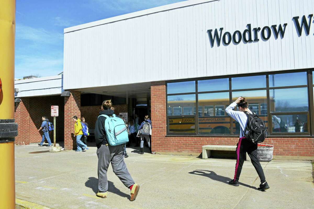 Woodrow Wilson Middle School seventh- and eighth-graders leave classes at the end of the day earlier this week in Middletown.