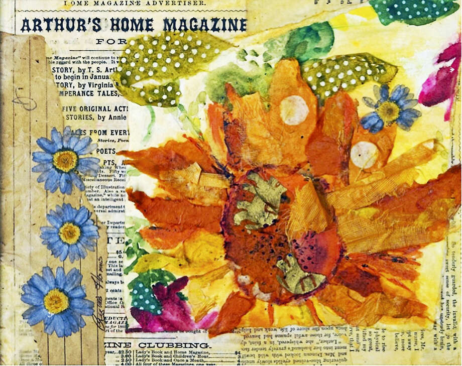 Contributed photo Flower collage by Regina Thomas. A workshop for adults in collage is being offered in April at Arts Center Killingworth. Photo: Digital First Media