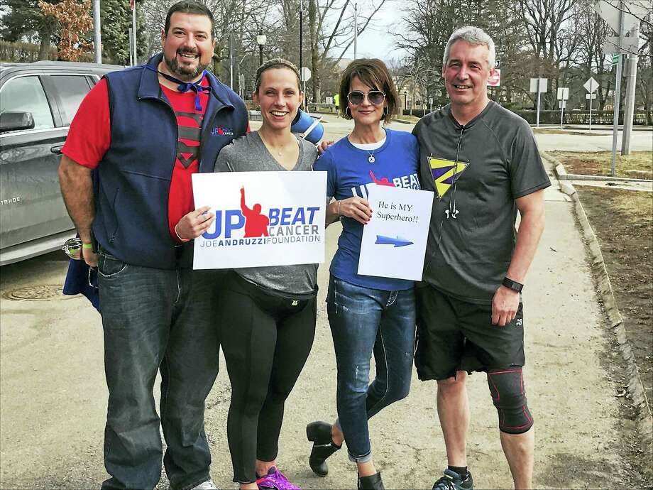 From left, Joe and Jen Andruzzi, and Amy and Michael Garofalo of Middletown, are pictured at one of Michael Garofalo's training runs in Boston to prepare for his upcoming 26.2-mile race — his first race of more than 7 miles. Amy and Michael Garofalo were injured in the 2013 bombing. Photo: Contributed Photo