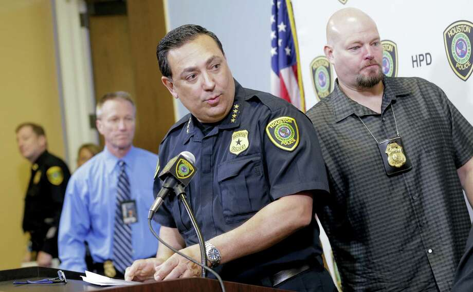 Houston Police Chief Art Acevedo speaks about the recovery of Patriots quarterback Tom Brady's jersey during a press conference Monday. Photo: Elizabeth Conley — Houston Chronicle Via AP  / '2017 Houston Chronicle