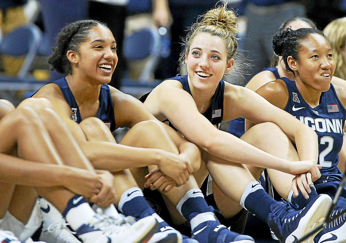 From left, UConn's Gabby Williams, Katie Lou Samuelson and Saniya Chong sit together.