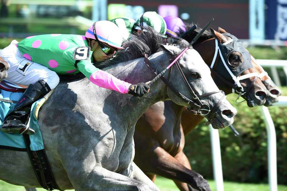 Disco Partner catches and passes the field to win the 13th running of The Troy at the Saratoga Race Course August 20, 2016 in Saratoga Springs, N.Y.    (Skip Dickstein/Times Union) Photo: SKIP DICKSTEIN