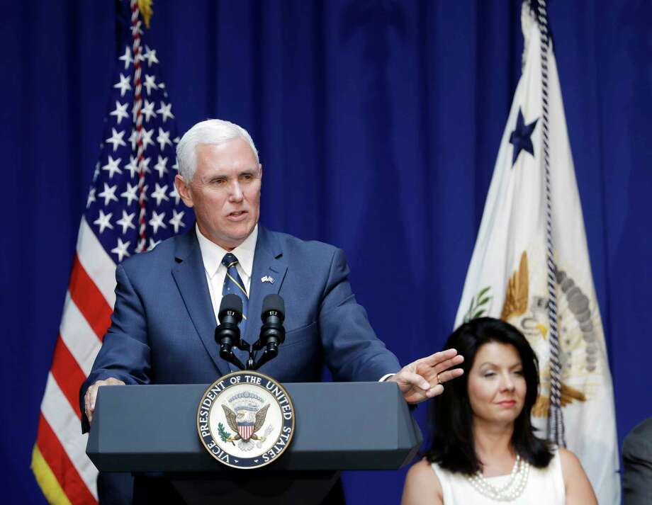 Vice President Mike Pence speaks during the unveiling of his official state portrait, Friday, Aug. 11, 2017, in Indianapolis. (AP Photo/Darron Cummings) ORG XMIT: INDC113 Photo: Darron Cummings / Copyright 2017 The Associated Press. All rights reserved.