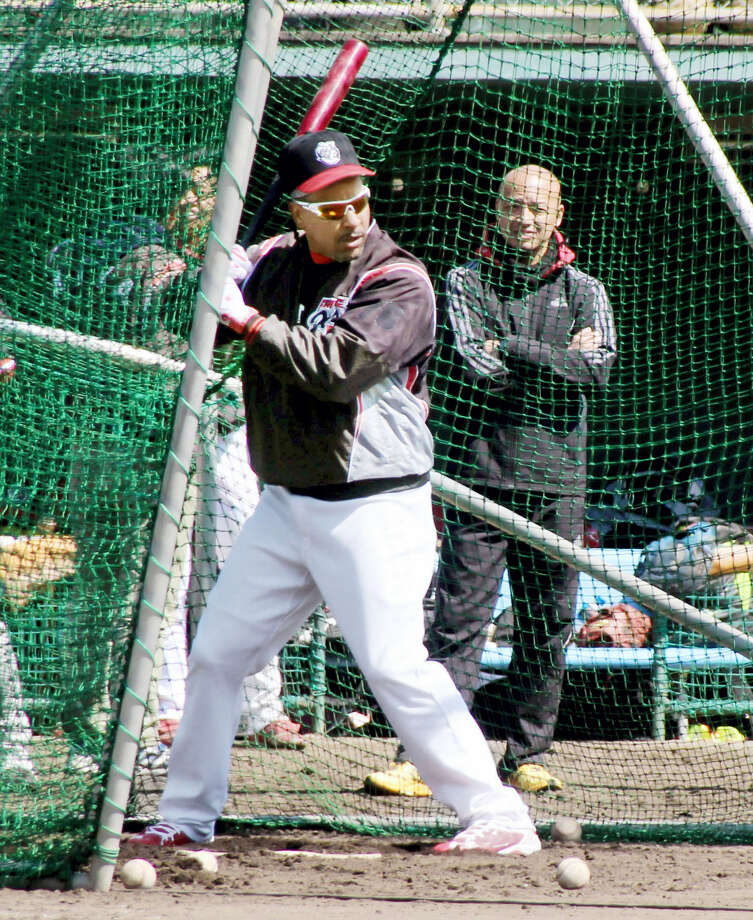 Former major league slugger Manny Ramirez practices batting during a workout in Kochi, western Japan. Ramirez is set to begin the next chapter of his baseball odyssey playing for the Kochi Fighting Dogs of Japan's independent Shikoku Island League. Photo: Emi Ikeda — Kyodo News Via AP  / Kyodo News