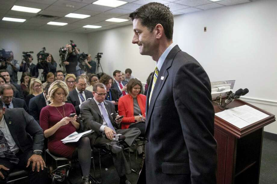 House Speaker Paul Ryan of Wis. leaves a news conference following a GOP party conference at the Capitol on March 15, 2017 in Washington. Photo: AP Photo — Andrew Harnik  / Copyright 2017 The Associated Press. All rights reserved.