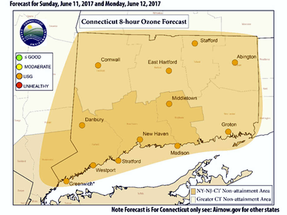 Connecticut's Worst Predicted Air Quality for Sunday and Monday June 12 and June 13. Photo: Connecticut Department Of Energy And Environmental Protection