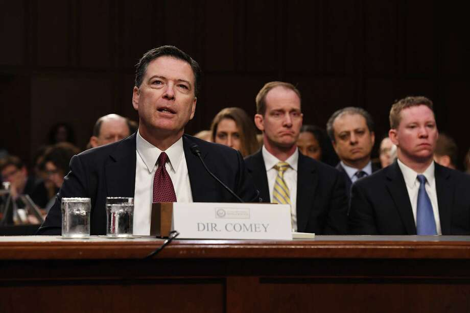 Former FBI Director James Comey appears before the Senate Intelligence Committee. Thursday. Photo: Matt McClain — The Washington Post  / The Washington Post