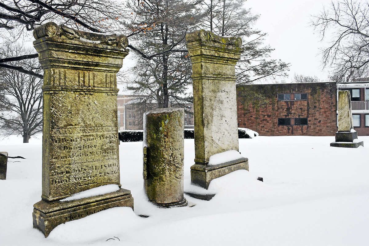 The circa 1837 College Cemetery on Foss Hill is the final resting place for many individuals, including Wesleyan's first president, Willbur Fisk, and third president, Stephen Olin.