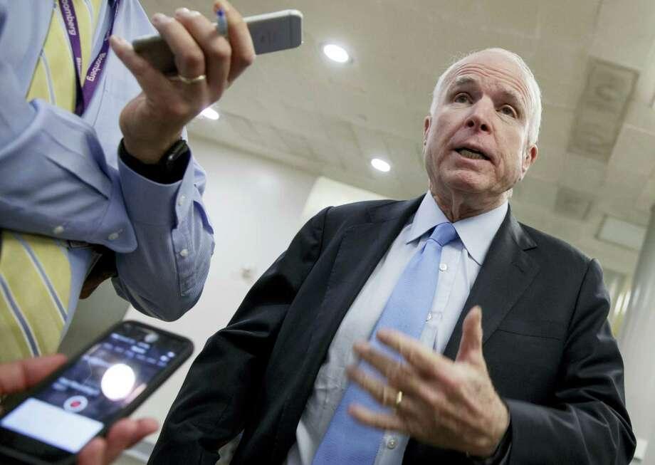 Senate Armed Services Committee Chairman Sen. John McCain, R-Ariz., speaks to reporters on Capitol Hill in Washington on March 8, 2017. Photo: AP Photo — J. Scott Applewhite  / AP