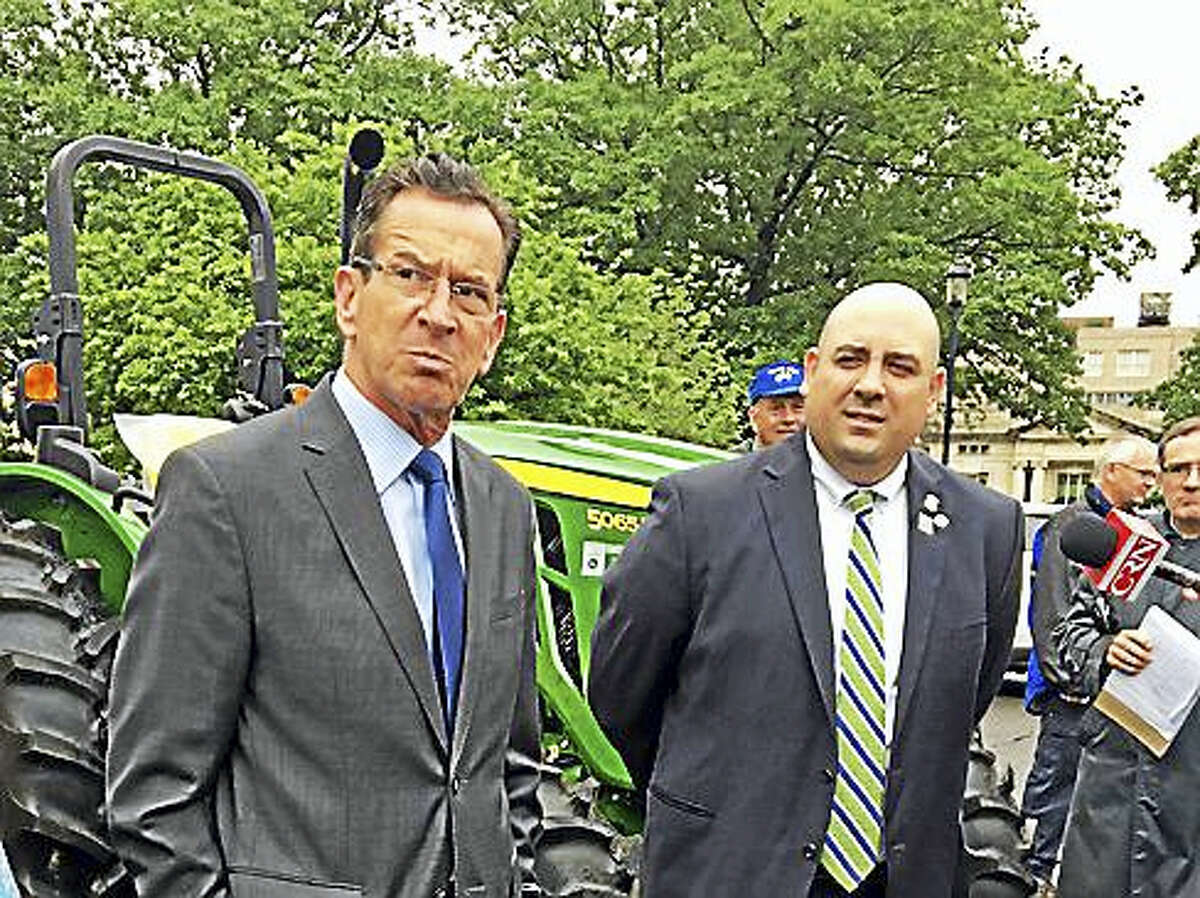 Gov. Dannel P. Malloy and Rep. Pat Boyd at celebration of agriculture outside the state Capitol.