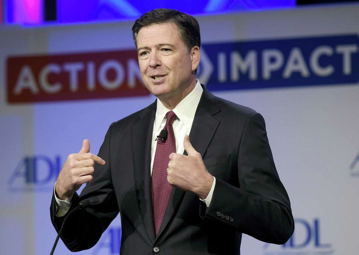In this May 8, 2017 photo, then-FBI Director James Comey speaks to the Anti-Defamation League National Leadership Summit in Washington.