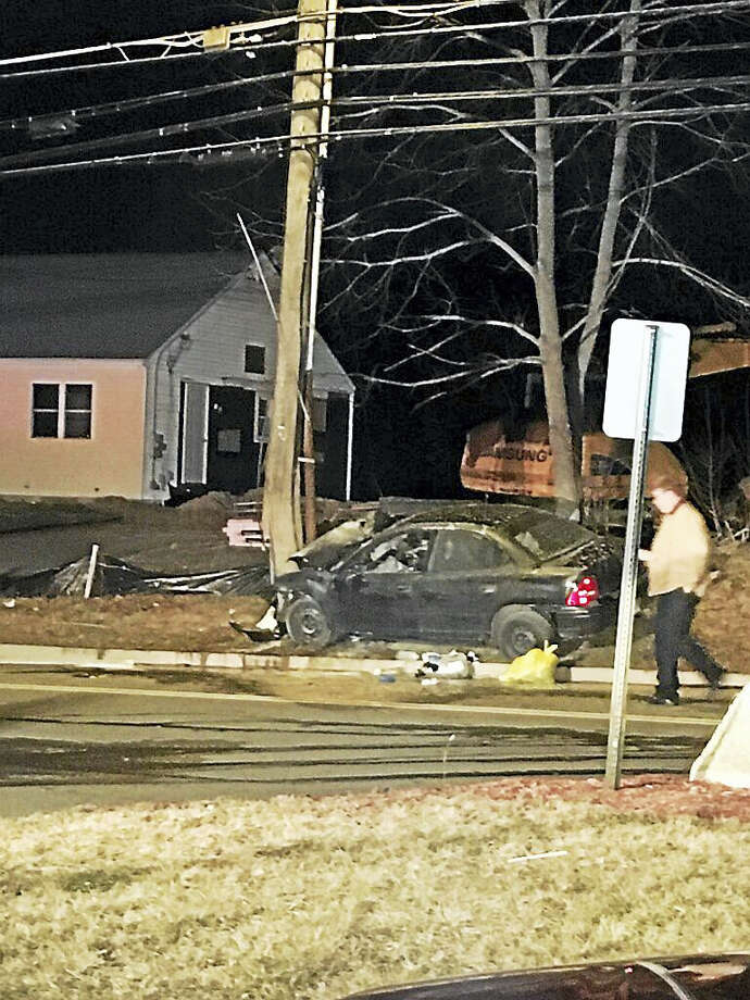 Two people were hurt in an accident on Saybrook Road in Middletown on Thursday evening. Photo: Courtesy Chief Robert Ross