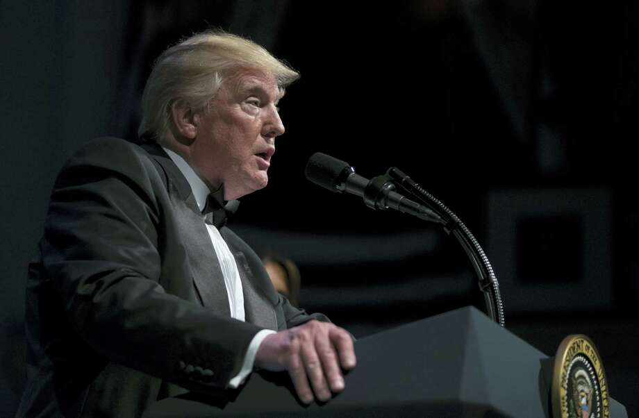 President Donald Trump speaks during the Ford's Theatre Annual Gala at the Ford's Theatre in Washington, Sunday, June 4, 2017. (AP Photo/Carolyn Kaster) Photo: AP / Copyright 2017 The Associated Press. All rights reserved.