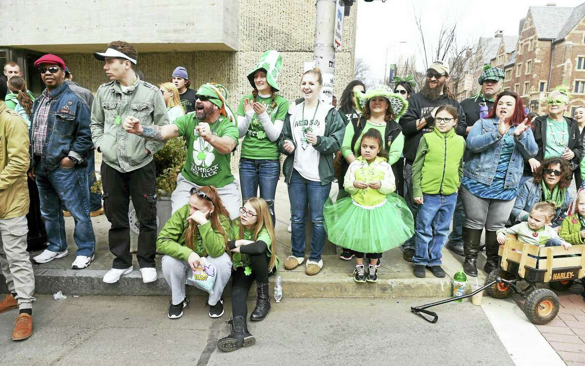The annual Greater New Haven St. Patrick's Day Parade entertains thousands as it heads down Chapel Street in New Haven last year.