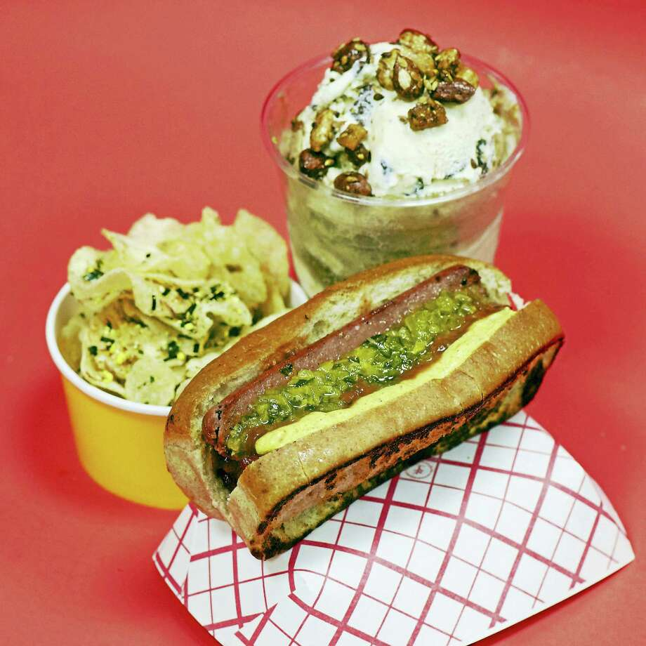 A grilled dog with hot pepper relish and spicy brown mustard (inspired by Blackie's of Cheshire); kettle chips with furikake and vinegar; and a float with Foxon Park root beer, Ashley's ice cream, and almond brittle. Photo: Contributed