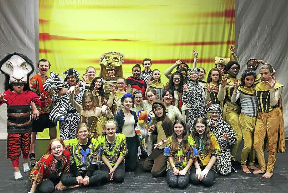 "The cast of ""The Lion King Jr."" rehearse for the show. Photo: Contributed Photo"