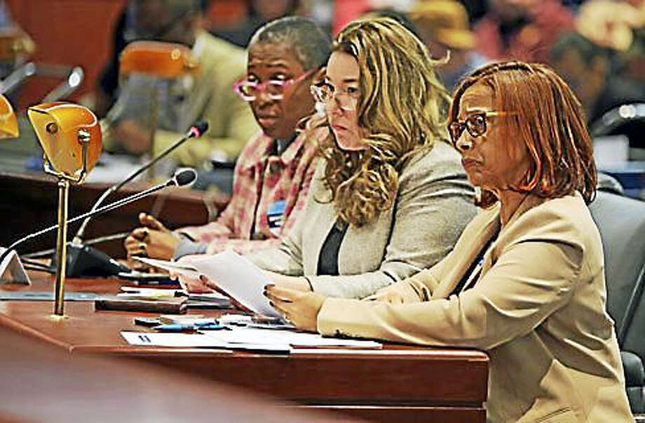 State Reps. Toni Walker, Melissa Ziobron, and Robin Porter testify in support of legalizing marijuana and taxing it. Photo: Christine Stuart — Ctnewsjunkie