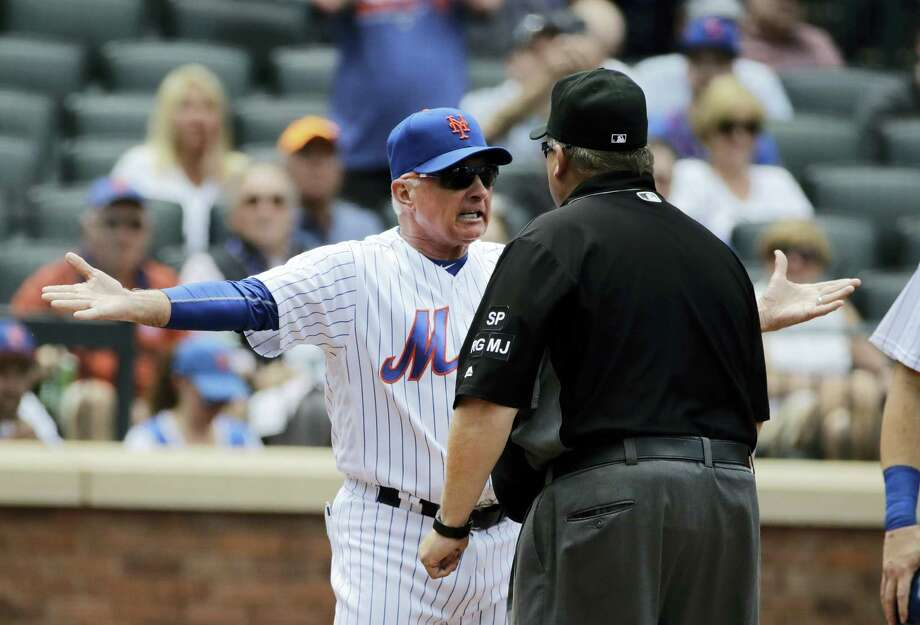 Mets manager Terry Collins argues a call with umpire Fieldin Culbreth during the fourth inning on Thursday. Photo: Frank Franklin II — The Associated Press  / Copyright 2017 The Associated Press. All rights reserved.
