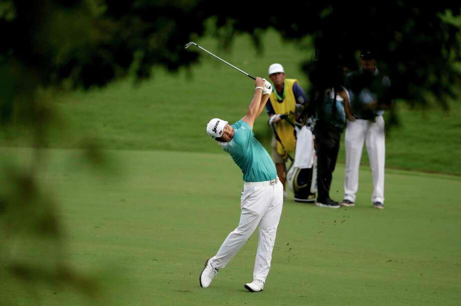 Hideki Matsuyama of Japan, hits from the fairway on the 18th hole during the second round of the PGA Championship golf tournament at the Quail Hollow Club Friday, Aug. 11, 2017, in Charlotte, N.C. (AP Photo/Chris O'Meara) Photo: Chris O'Meara, STF / Copyright 2017 The Associated Press. All rights reserved.
