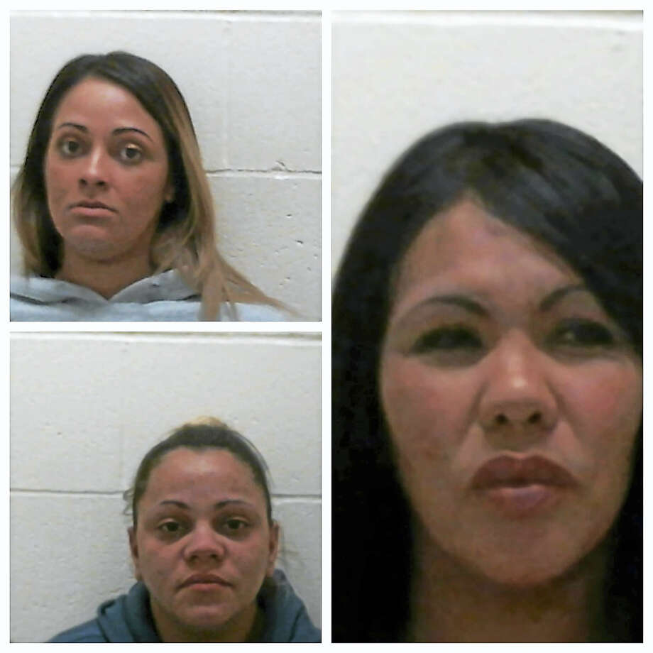 Three females from Springfield, Mass. were charged Saturday, March 4, 2017 for shoplifting nearly $10,000 worth of footwear and clothing from about 13 stores at Clinton Crossing Premium Outlets. Betzaida Rodriguez (top left), Sheyla Orengo (bottom left) and Delia Rodriguez-Perez (right) were charged with second-degree larceny and conspiracy to commit larceny. (Photo courtesy of Clinton Police Department) Photo: Digital First Media